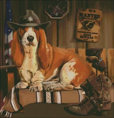 Basset Hound Dog  Sheriff Counted Cross Stitch Pattern Pdf Or Printed