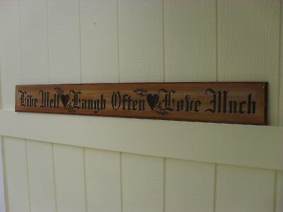 Wood Sign Live Well Laugh Often Love Much Family Quote Wall Hearts Vintage Holly