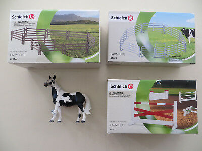 Schleich Show Jumping Course 40181 Corral Fence 41420 Paddocks 42106 Pinto Mare