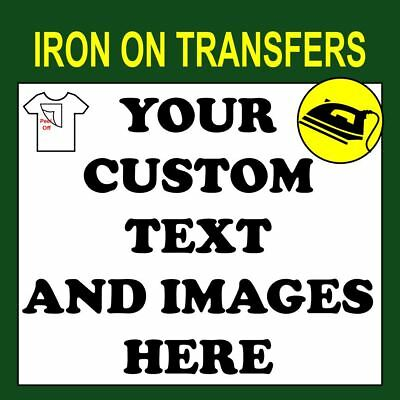 Custom Iron On T Shirt Transfer Personalised Text Quality Print Your Name Image