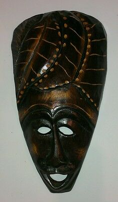 Vintage African Hand Carved Wood Woman's Face (Lady Africa Hair)