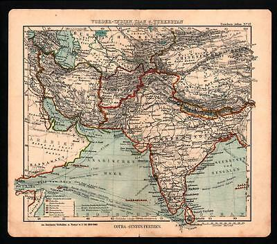 Antique map. ASIA. INDIA. PERSIA. AFGHANISTAN. TIBET. CHINA. 1906