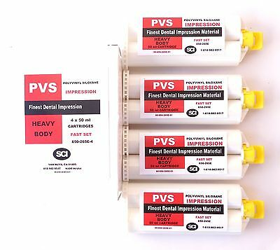 HEAVY BODY FAST 90 SECONDS SET PVS SILICONE IMPRESSION CARTRIDGE MATERIAL 4x50ml