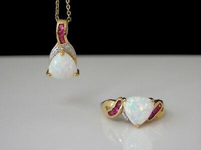 Technibond Opal & Ruby Necklace And Ring Set