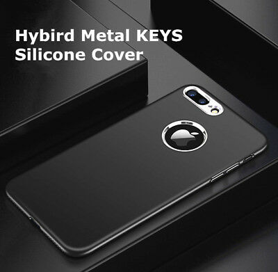 Deluxe Plating Metal Button Silicone Soft Case Cover for iPhone 6S X 7 8 Plus SE