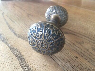 1 PAIR  ANTIQUE 1880's EASTLAKE BRASS DOORKNOBS  NOUVEAU VICTORIAN DOOR KNOBS