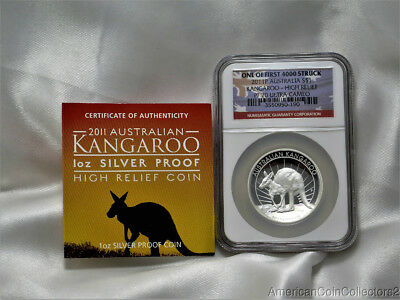 2011-P AUSTRALIA KANGAROO $1 1oz NGC PF70 HIGH RELIEF 1 OF 1st 4000 STRUCK |8544