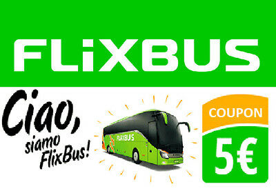 3X5€ SCONTO FLIXBUS  VOUCHER BUONO COUPON! **-MAX 1h-** FEEDBACK 100% POSITIVO!