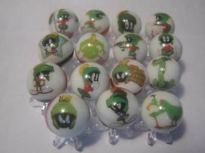 Marvin the Martian looney tunes MARBLES 5/8 SIZE collection lot with STANDS