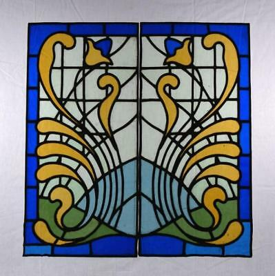 *Antique Pair of French Stained/Leaded Glass Panels with Blue Glass