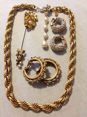 Lot Vintage Miriam Haskell Jewelry Gold Tone Faux Pearl Necklace Clip Earrings
