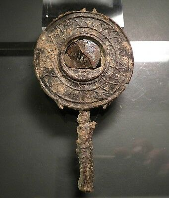 SUPERB ANCIENT ROMAN HIGHLY DECORATED LEAD MIRROR - C. 2/3rd Cent. A.D.