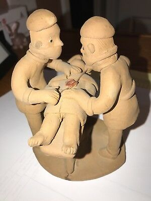 Unique Terra Cotta Surgery Figurine, surgeon, Brazilian artist MANUEL EUDOCIO