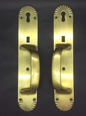 A Superb Unusual Pair Of Antique Heavy Solid Brass Door Handles