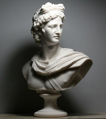 APOLLO Greek Roman God Bust Head Cast Marble Statue Sculpture Handmade 12.6΄΄