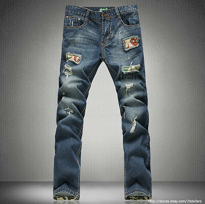 Mens Jeans Young Kids Torn Jeans Holey Ripped Distressed Straight Leg Slim Fit