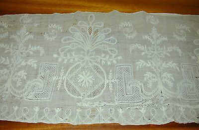 """Antique 18thC Lace Altar Cloth-11"""" deep by 100"""" Wide- AS Found"""