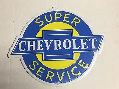 "Super Chevrolet Service Round Metal Tin Sign 12""  Garage Man Cave Embossed Chevy"