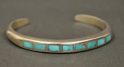 Vintage Native American Old Pawn Sterling Silver Turquoise Inlay Cuff Bracelet