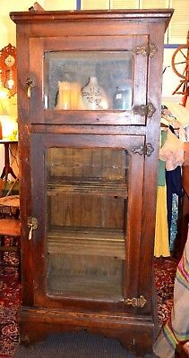 Antique Oak Ice Box- Glass Doors-74 inches tall-General Store-Cooler