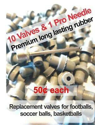 Replacement valves for footballs, soccer ball, basketballs 10 valves, pro needle
