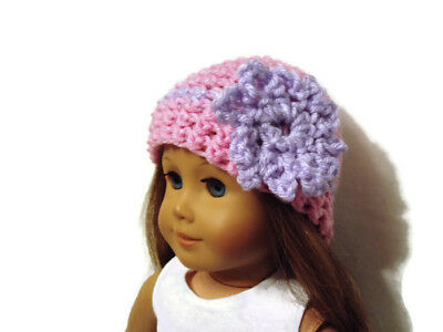 """Crochet Hat Fits American Girl Dolls 18"""" Doll Clothes Pink w/ Lavender Flower"""