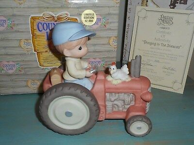Precious Moments Country Lane Bringing in the Sheaves LE NIB Musical Tractor