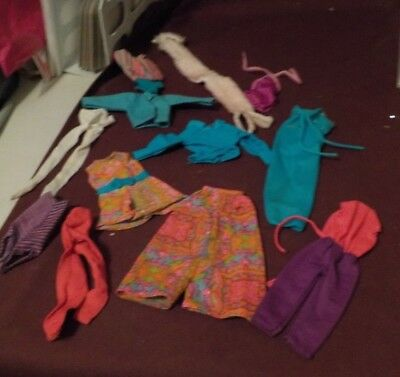 """Vintage Mixed Lot Of 12 Pc Barbie Out Fits- Nice Bright Floral Pants Suit """"b"""""""