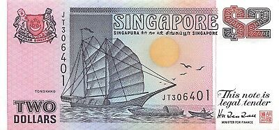 Singapore 2 Dollars, ND 1997 P.34 New Uncirculated Unc