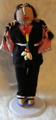 """Great Vintage 11"""" Soft Body Real Hair Native Doll Black Felt, Lots Of Beads"""