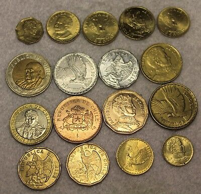 set of 17 different coins from Chili