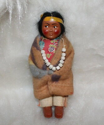 "Great Vintage Bully 6 1/2"" Tall Skookum Indian Doll Beaded Neclace Brown Shoes"