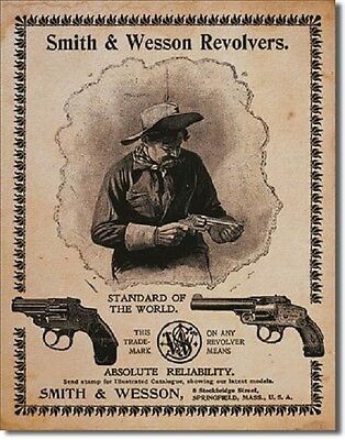 Smith & Wesson Revolvers Standard of the World Gun Ammo Vintage Metal Tin Sign