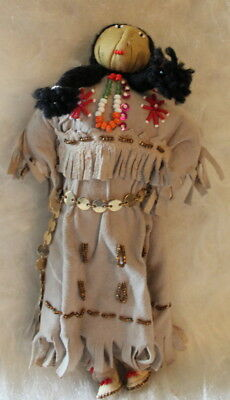 """11"""" Tan Soft Light Leather Native American Stuffed Doll, Metal Belt Papoose"""