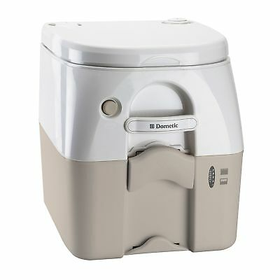 Dometic 301097502 Portable Toilet w/ Stainless Steel Hold-Down Brackets Tan New