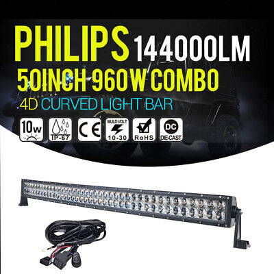 """50Inch 960W Philips Curved Led Light Bar Spot&flood Offroad 4Wd Atv Truck 52"""" Au"""