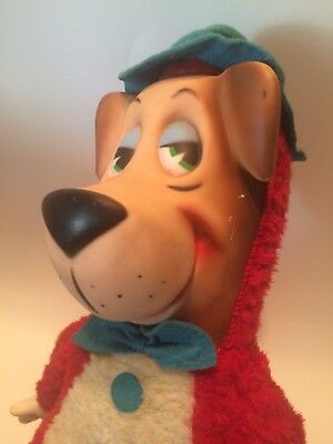 "1950,s KNICKERBOCKER HUCKLEBERRY HOUND PLUSH WITH RUBBER FACE  & HANDS 19"" Tall"