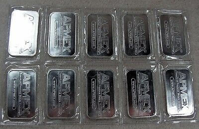1 oz Silver Bar - APMEX (Lot of 10)