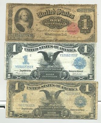 $1 1891 Martha and 2x 1899 Black Eagle Silver Certificates - no reserve