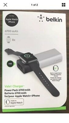 NEW Belkin Valet Charger *BRAND NEW* Power Pack 6700mAh for Apple Watch + iPhone