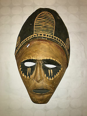 Vintage West African Hand Carved Tribe Tribal Style Mask Black And Brown