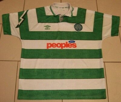 ** Rare Vintage Glasgow Celtic Football Shirt - Home - Umbro - Size Adult XL **