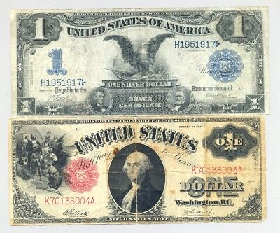 Series 1899 $1 Silver Certificate and $1 Series 1917 United States Note