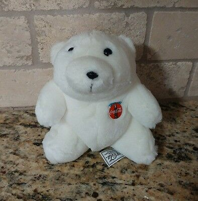 Coca-Cola White Polar Bear W/ Plastic Coke Button Plush 1993 - 7""
