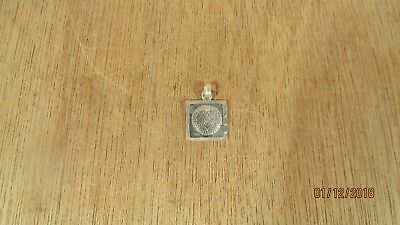 Mid Century Modern Mexico Sterling Silver Pendant Mayan Aztec Sun God 4.35 gms