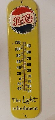 Mid 1950's Pepsi Cola Metal Thermometer / Sign; Thermometer Works!!