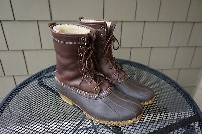 Mens LL Bean SHEARLING LINED Boots Gumshoe Brown Leather 11.5-12 Duck Waterproof