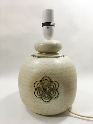 Vintage Retro Jersey Pottery Table Lamp Base Ceramic Flower Design Mid-Century