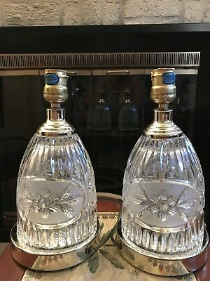 "Pair Of Vintage Elegant  Cut Glass  Lead  Crystal 11"" Heavy Table Lamps"