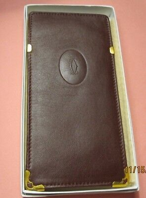 """Must Be Cartier "" Paris Burgundy Eye Glass Soft Leather Case Holder"